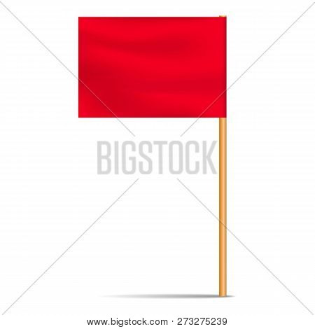 Red Desktop Flag Icon. Realistic Illustration Of Red Desktop Flag Vector Icon For Web Design Isolate