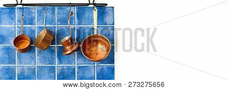 Kitchen Interior With Vintage Copper Utensils. Old Style Cookware Kitchenware Set. Pots And Coffee M