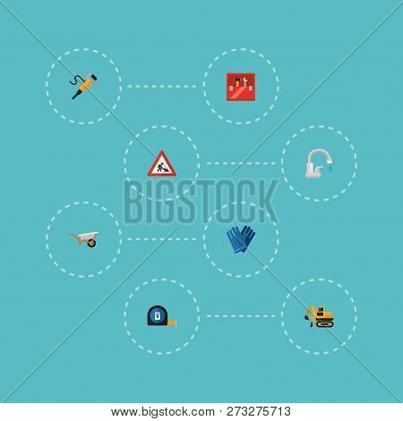 Set of construction icons flat style symbols with workman sign, crawler excavator, tape measure and other icons for your web mobile app logo design. poster