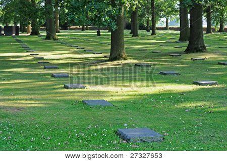 German cemetery for fallen soldiers in World War I in Langemarck Flanders Belgium Europe poster