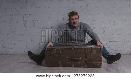 The Guy With The Suitcase, Vacation Package. The Man Goes On Vacation With A Huge Suitcase. Concept: