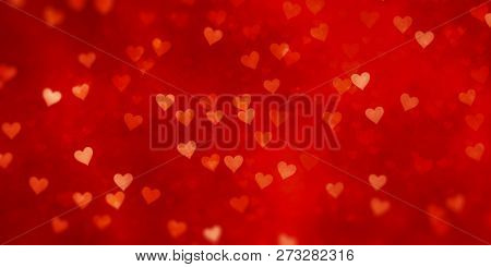 Illustration of a Valentine's Day hearts red background banner