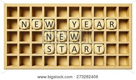 a wooden grid with cubes new year new start 3d illustration