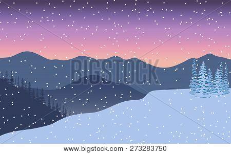 Winter Landscape. Evening Twilight, Distant Mountains, Decorated Illuminated X-mas Tree, Gift, Snow