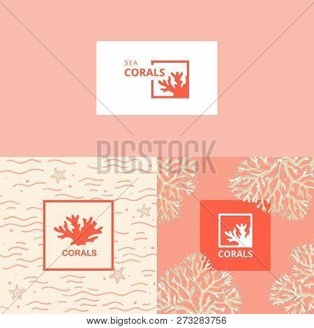 Maritime Emblem. Algae And Tropical Fish. The Icon Of Underwater Life. A Sign For An Aquarium, Aquar