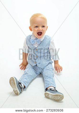 Fashion Boy. Small Child Happy Smiling. Boy Child With Fashion Look. Small Baby In Fashionable Wear.