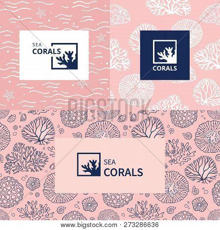 Algae And Tropical Fish. A Sign For An Aquarium, Aquarium Or Travel Company. Maritime Emblem. The Ic