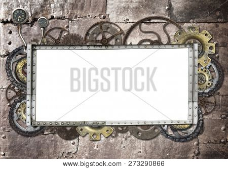 Metallic frame with vintage machine gears and cogwheel. Mock up template. Copy space for text. Can be used for steampunk and mechanical design