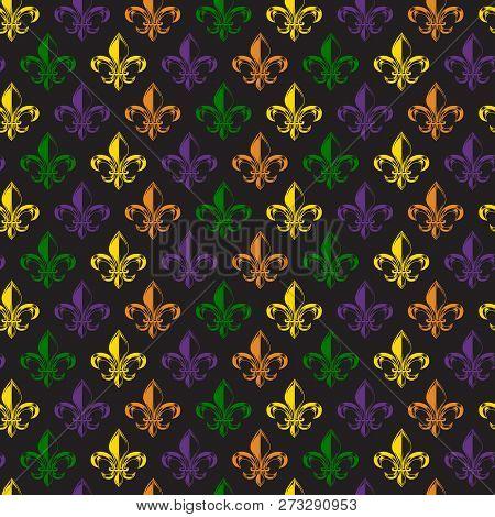Mardi Gras Carnival Seamless Pattern With Fleur-de-lis. Mardi Gras Endless Background, Texture, Wrap