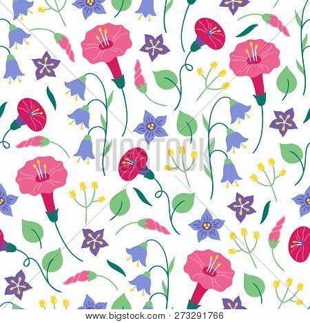 Seamless Floral Pattern With Bellflower, Bindweed And Leaves On White Background. Perfect For Summer