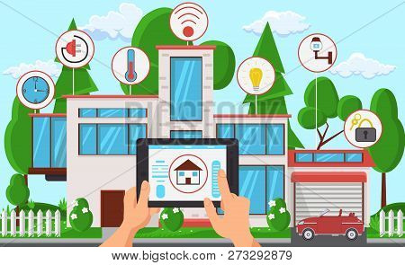 Architectural Agency Business Concept. 3d Layout of City on Screen. Interior Office Space. Hands holding Tablet. Building Project. Work in Architectural Bureau. Vector Flat Illustration. poster