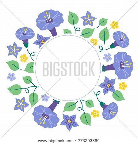 Summer Greeting Card With Leaves, Bindweed, Bellflower And Circle Blank Label. Perfect For Holiday A