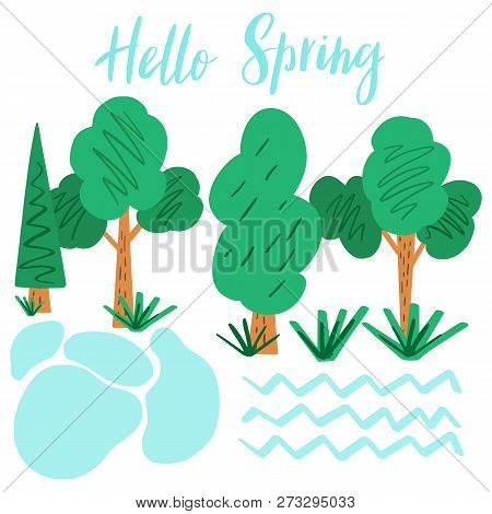Hello Spring. Hand Drawn Lettering With Spring Trees, Creek And Pond In The Park Zone. Flat Season I