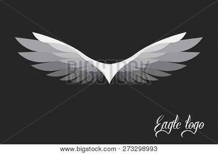 Vector Eagle Logo Stylized And Simplified On Black Background. Eagle For Tattoo Or Logo