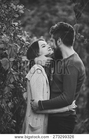 Couple With Smiling Faces Cuddle Each Other With Tenderness. Couple In Love Hugs With Red Leaves On