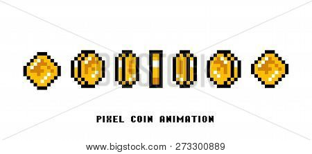 Animation Of Coins. Pixel Art 8 Bit Objects. Set Of Icons For Vintage Computer Video Arcades. Retro