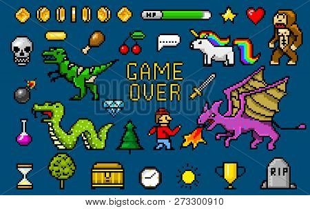 Pixel Art 8 Bit Objects. Retro Game Assets. Set Of Icons. Vintage Computer Video Arcades. Characters