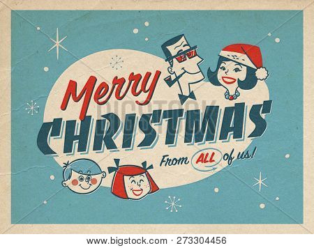 Vintage Style Illustration of a Christmas Postcard with realistic vintage prepress print effects. Merry Christmas From all of us!