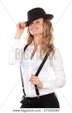 Foto stock: Hermosa joven modelo en sombrero sobre el fondo blanco.