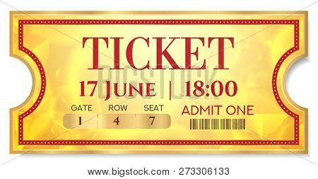 Admission Golden Ticket Template. Vector Mockup Movie Ticket (tear-off) With Red Border On Gold Back