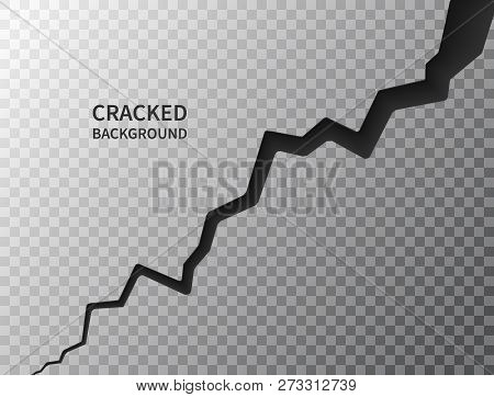 Cracked ground surface. Realistic crack texture on transparent background. Earth crack. Rift on surface. Split terrain after earthquake. Crack on the wall or on the ice. Vector illustration poster