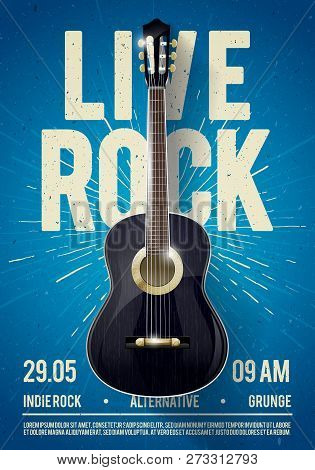 Vector Illustration Beautiful Live Classic Rock Music Poster Template. For Concert Promotion In Club