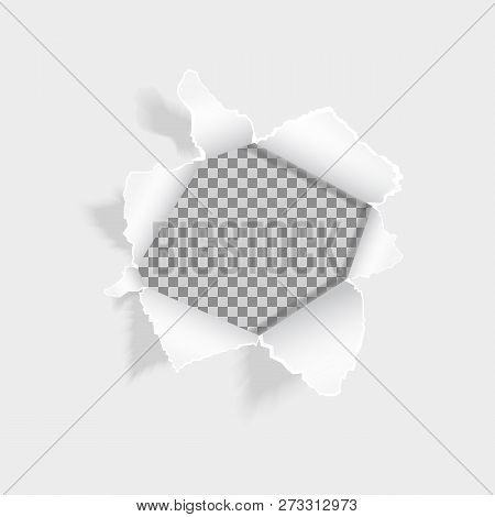 Realistic Ripped Hole In The Sheet Of Paper. Torn Paper On White Background. Paper With Ripped Edges