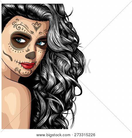 Girl With Skeleton Make Up Hand Drawn Vector Sketch. Santa Muerte Woman Witch Portrait Stock Illustr