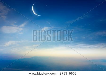 Dramatic Nature Background .  New Moon .  Prayer Time . Generous Ramadan .  Mubarak Background . Glo
