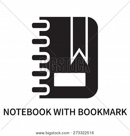 Notebook With Bookmark Icon Isolated On White Background. Notebook With Bookmark Icon Simple Sign. N