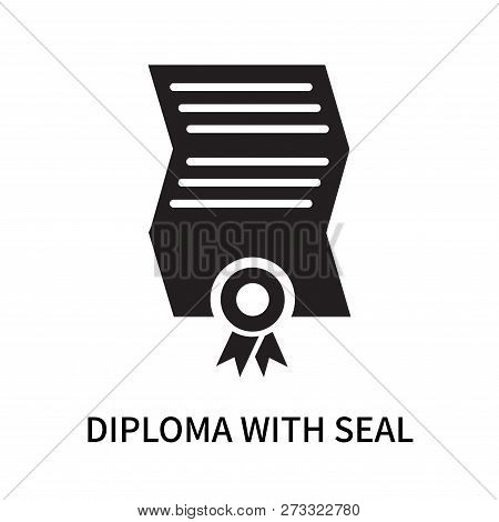 Diploma With Seal Icon Isolated On White Background. Diploma With Seal Icon Simple Sign. Diploma Wit