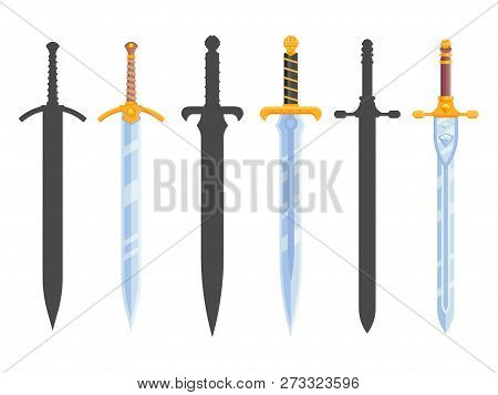 Set Of Knight Swords Isolated On White Background. Swords In Flat Style And Silhouettes. Vector Illu