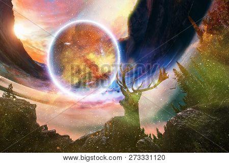 Beautiful Young Dreamy Deer On Dramatic Starry Galaxy Background Looking Into Other Dimensional Worl