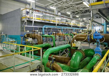 Pipes, Filters And Sewage Pumps Inside Modern Industrial Wastewater Treatment Plant.