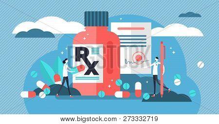 Rx Medical Prescription Drug Vector Illustration. Flat Mini Persons Concept With Patient, Pills, Cap
