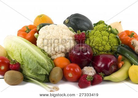 Different kinds of vegetables and fruits on white background