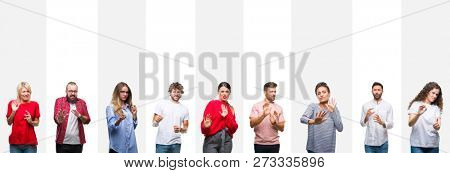 Collage of different ethnics young people over white stripes isolated background disgusted expression, displeased and fearful doing disgust face because aversion reaction. With hands raised. Annoying