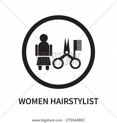 Women Hairstylist Icon Isolated On White Background. Women Hairstylist Icon Simple Sign. Women Hairs