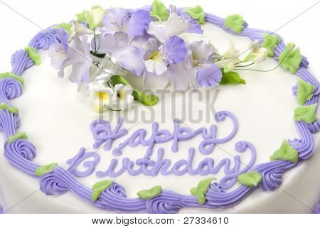 Delicious beautifully decorated birthday cake