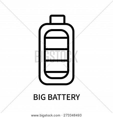 Big Battery Icon Isolated On White Background. Big Battery Icon Simple Sign. Big Battery Icon Trendy