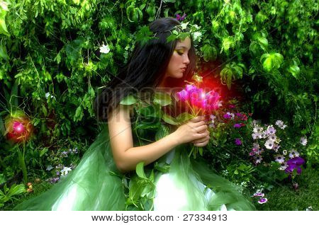Enchanted Garden and the Fairy during night hours (misty feeling, studio shoot)