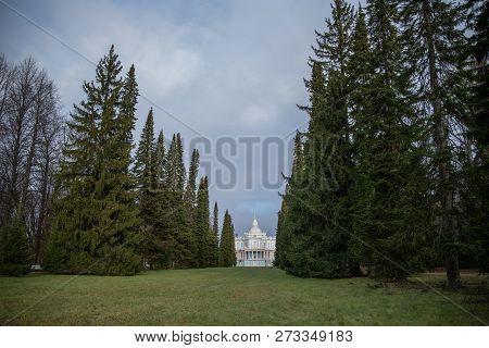 "Palace and park ensemble Oranienbaum, Pavilion ""Katal'naya gorka (Sliding Hill)"". Oranienbaum (Lomonosov) town, suburban of Saint Petersburg. poster"