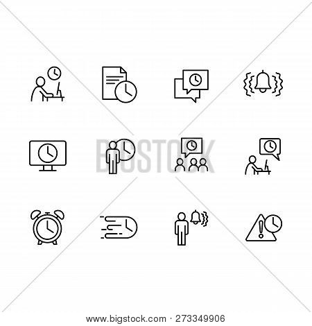 Vector Icon Business People, Busines Office, Working Time And Deadline. Contains Such Icons Manageme