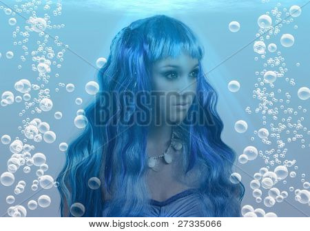 Mermaid and bubbles