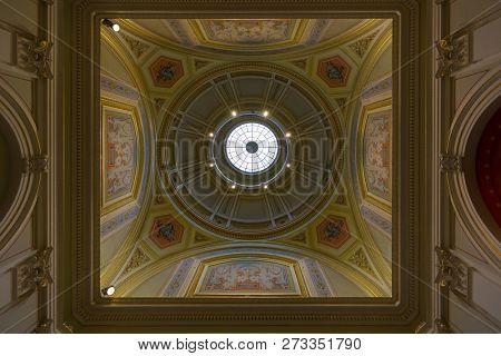 VIENNA, AUSTRIA - JULY 2018 : Dome of University of Vienna's main building, called Universitaet Wien in Deutsch, public university in Vienna, Austria on July 17, 2018.