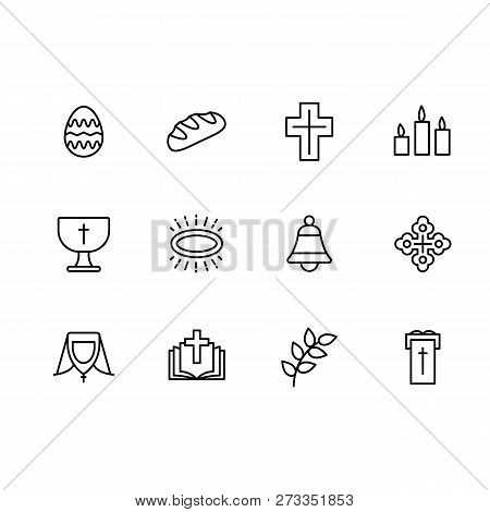Simple Set Symbols Religion And Church Line Icon. Contains Such Icon Easter Egg, Bread, Cross, Candl