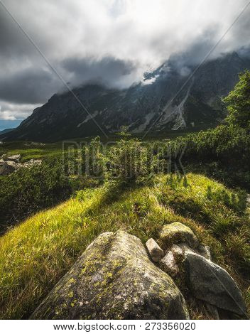 Sunlit Mountain Landscape With Rocks. Mengusovska Valley, High Tatras, Slovakia