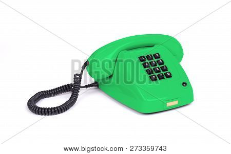 Vintage Green Telephone With A White Background
