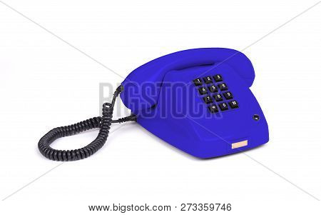 Vintage Blue Telephone With A White Background
