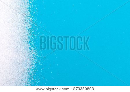 White Sugar Background - Concept Of Unhealthy Eating - Blue Background